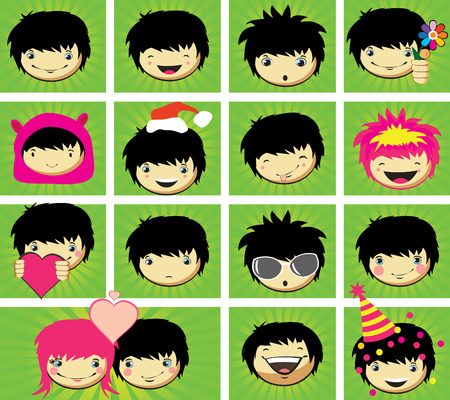 anime: Expressions of boys fase, vector