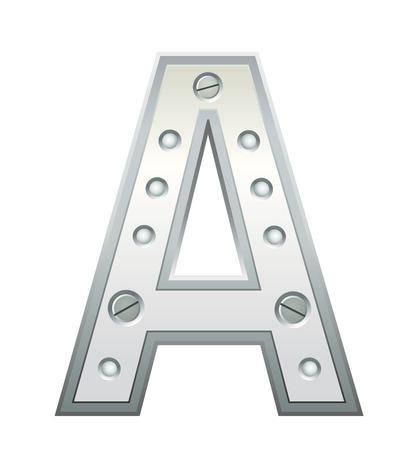 letras cromadas: Carta con remaches met�licos y tornillos