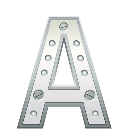 studs: Metallic letter with rivets and screws