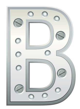 Metallic letter with rivets and screws