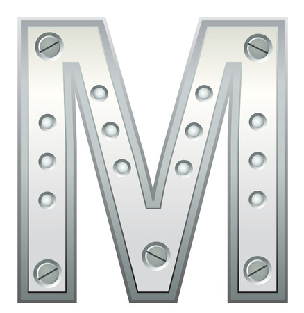 rivet:   Metallic letter with rivets and screws