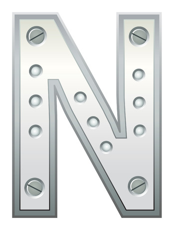 stainless steel industry:  Metallic letter with rivets and screws