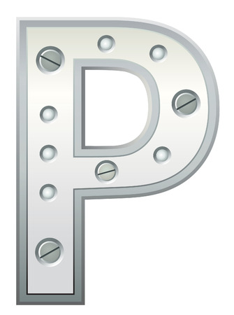titanium: Metallic letter with rivets and screws