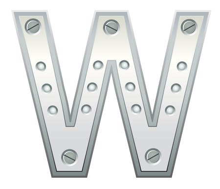 Metallic letter with rivets and screws Vector
