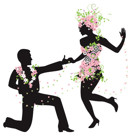 Silhouette of dancing couple with flowers Vector