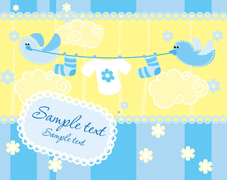 birth announcement: Baby boy arrival announcement card Illustration