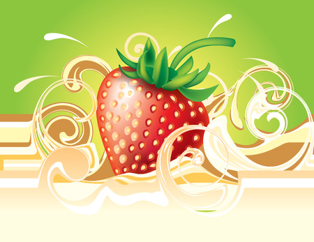 Strawberry and cream. Vector for design Illustration