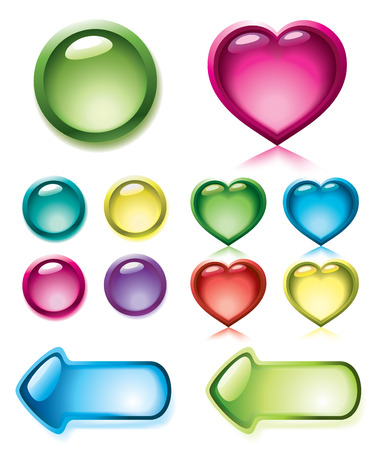 Set of glossy buttons for design Vector