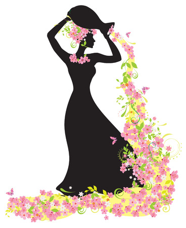 Decorative silhouette of woman with flowers Vector