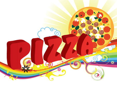 Pizza and rainbow for design