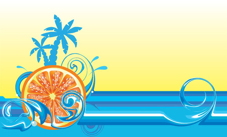 Swirling wave design with palm trees and orange Vector