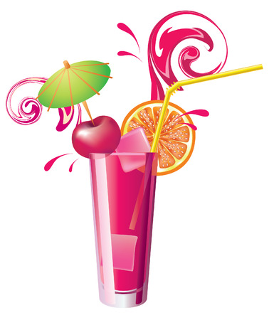Vector glass of cherry juice Illustration