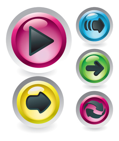 Set of glossy buttons with arrows Vector