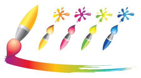 Brush icons with rainbow blots  Vector