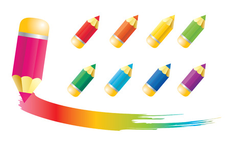 Pencil icons with rainbow blots  Illustration