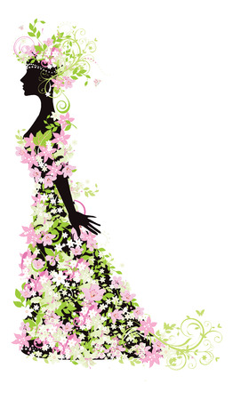 woman side view: Decorative silhouette of woman with flowers Illustration