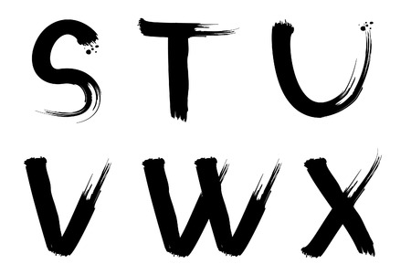 Set of vector painted letters for design Vector