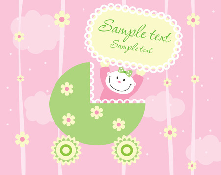 bambino: Baby girl arrival announcement card Illustration