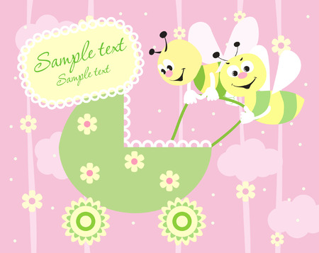 Baby girl arrival announcement card Stock Vector - 4533664