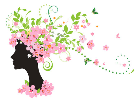 Decorative silhouette of woman with flowers Stock Vector - 4560725