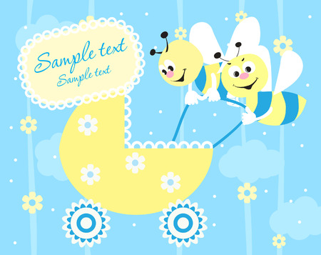 bee party: Baby boy arrival announcement card Illustration
