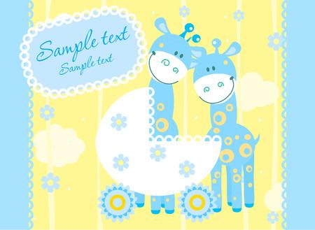 Baby boy arrival announcement card Stock Vector - 4584330