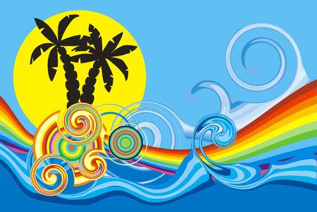 与棕榈树的旋转的波浪设计