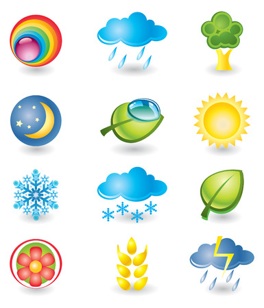 Set of design elements. Nature and weather Illustration