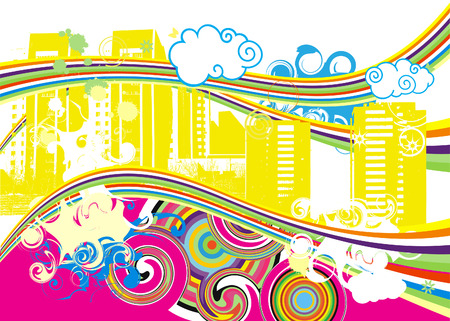 Swirling Rainbow City Vector Illustration Vector