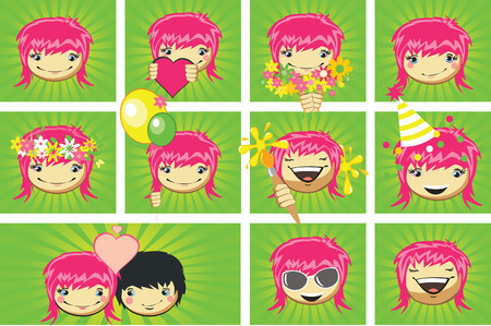 Expressions of girlss face, vector Vector