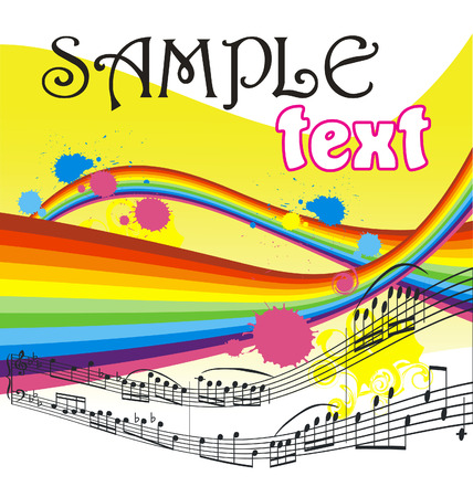 Absract waves background with musical notes Stock Vector - 4631887