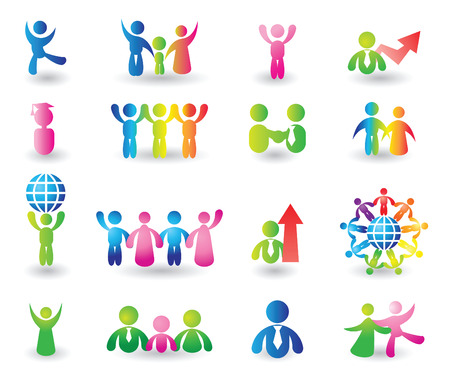 two parent family: Set of people icons for design Illustration