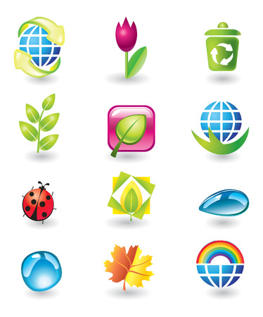 maples: Set of vector design elements. Nature.