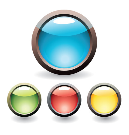 Set of glossy buttons for web design Vector