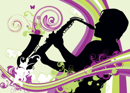 sax: Swirling sainbow illustration with saxophonist Illustration