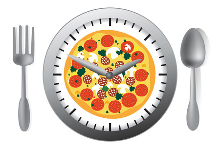 commercial kitchen: Vector illustration with clock and pizza Illustration