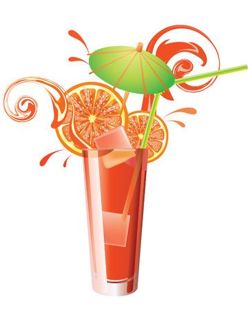 tropical drink: Vector glass of orange juice