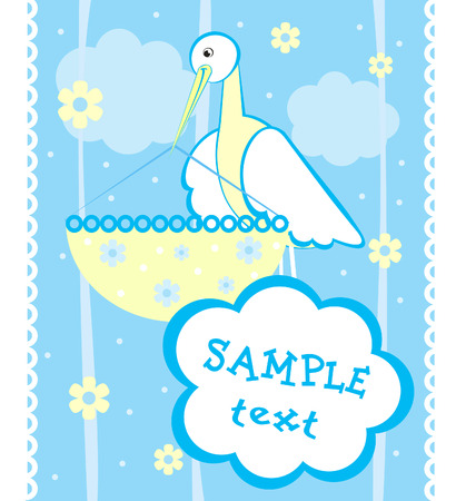 Baby arrival announcement card with stork Stock Vector - 4786642