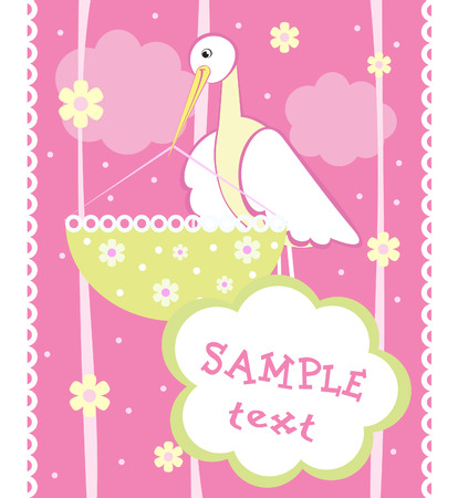 Baby arrival announcement card with stork