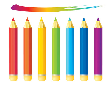 educational tools: Set of rainbow colored pencils
