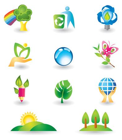 logo reciclaje: Conjunto de elementos de dise�o. Naturaleza. Vectores
