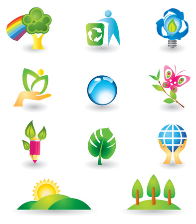 leaf logo: Set of design elements. Nature. Illustration