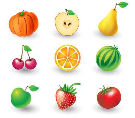 Vector set of fruit objects Stock Vector - 4823298