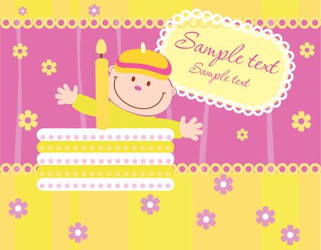 Baby birthday announcement card, vector Stock Vector - 4823295