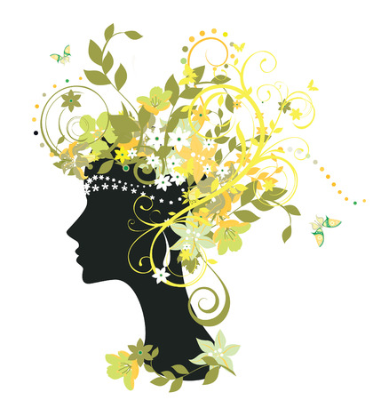 Decorative silhouette of woman with flowers 矢量图像
