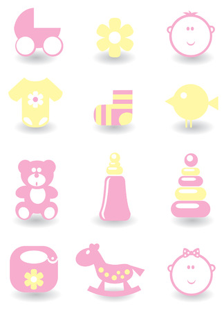 Set of baby icons for design 矢量图像