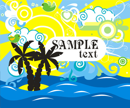Swirling wave design with palm trees  Vector