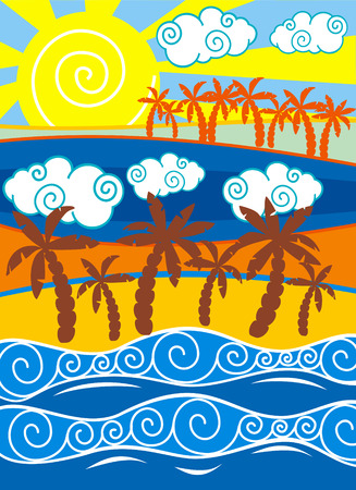 Beach background with palm trees  Vector