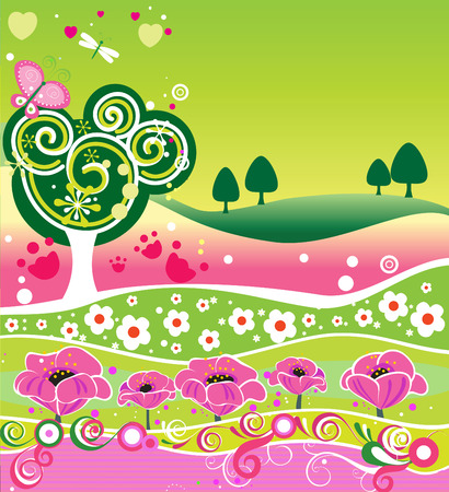 Decorative summer background for design Vector