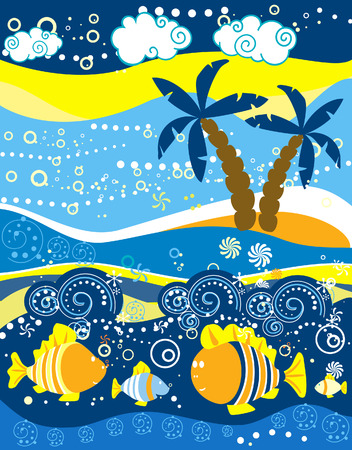Decorative sea landscape for design Vector